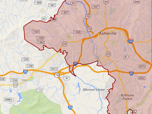 Asheville NC Split between Districts
